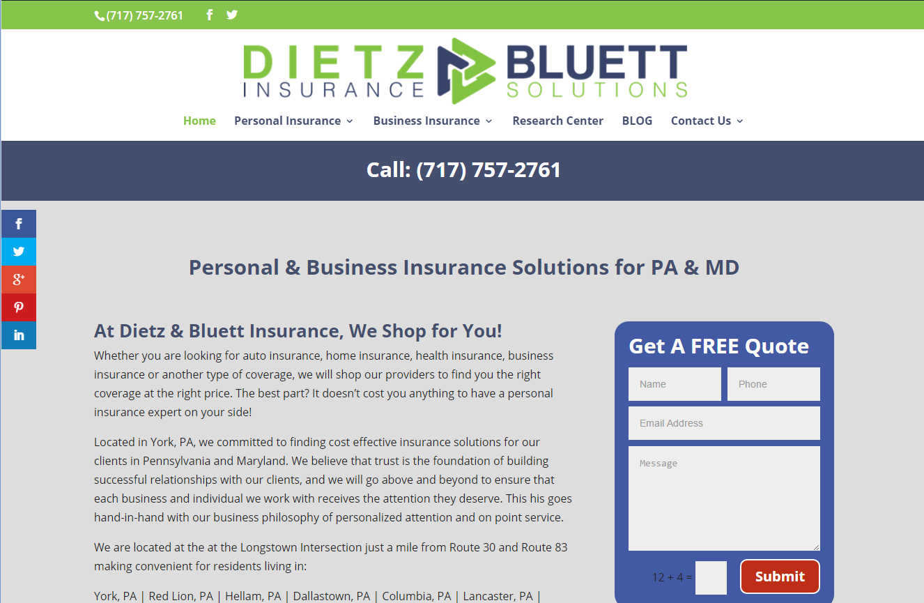 How To Quote A Website New Website Launch  Dietz & Bluett Insurance York Pa